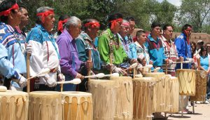 Native American drummers at feast day.